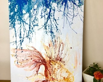 Original abstract oil painting, The goldfish bowl. Large canvas, Colour wall art