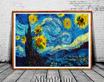Starry Night Print, Parody Art, Starry Night Wall Art Decor, Funny Art, Starry Night Poster, Starry Night Painting, Sunflowers Van Gogh