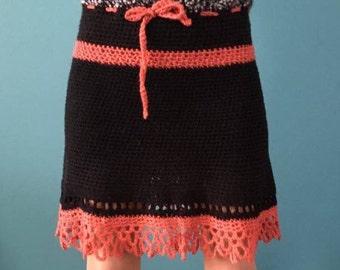 Single crochet black-orange knit skirt