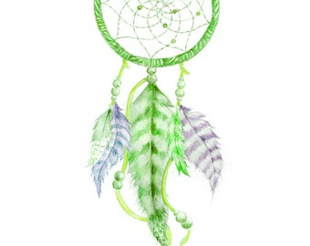 WATERCOLOR DREAMCATCHER PRINT, green watercolor Dream Catcher, Wall Art, Dreamcatcher Print, Dreamcatcher Wall Art