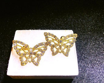 14K Diamond Butterfly earring