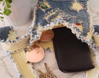 Crossbody Bag - Hipster Bag - Boho Bag - Shoulder Bag - Crossbody Hobo Bag - Upcycled Bag - Denim Bag - Recycled Jeans - Upcycled Jeans