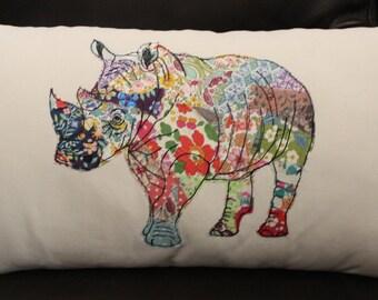 Handmade Rhino cushion | freehand machine embroidery and applique | liberty scraps | unique design