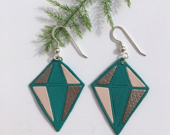 Leather, graphic, colorful diamond earring