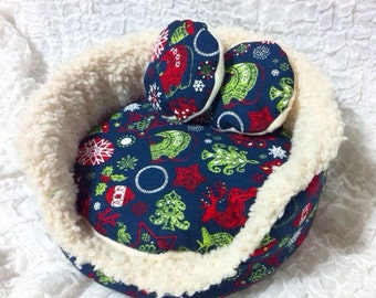 Cuddle cup set/hedgehog bed/guineapig bed/small animal bed/pillow/cushion/hedghog pillow/hedghog cushion/fur