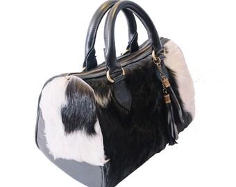 Handmade Black Barrel Bag Genuine Leather