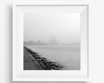 Black and white print Photography Urban sea prints Ocean photo Sea art Water wall decor Pale gray square moder photos Nautical wall hanging