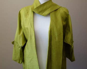 Vintage bright green swing jacket with bow details