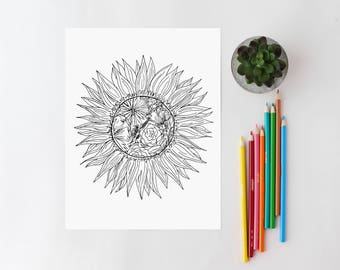 Adult Color Page Floral Coloring Sunflower Book Printable