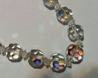 Coro Signed Vintage Aurora Borealis Crystal Bead Necklace