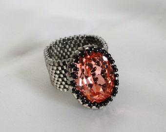 Ring with Swarovskistein rose peach
