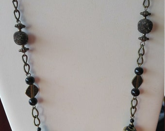 Antique Looking Gold and Black Necklace