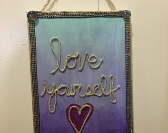"Hanging Sign ""Love Yourself"""