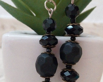 Black faceted earrings silver brass fashion jewelry