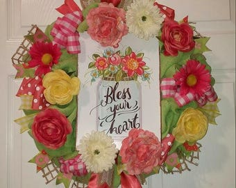 "Ready to Ship! 20"" Bless Your Heart Apple Green Burlap Wreath with Pink, Yellow, and Cream Flowers, Polka dot and Gingham Ribbons"