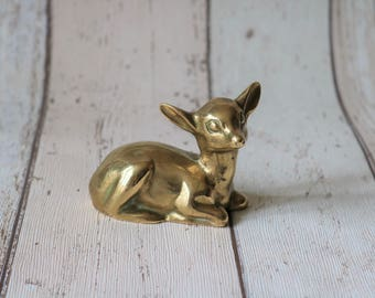 Pretty Vintage Brass Bambi Ornament - Mid Century Decor