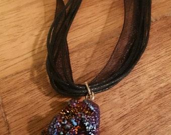 Midnight Daze Druzy Ribbon Necklace