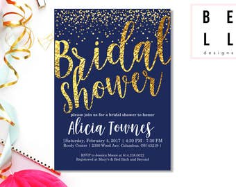 Customized Shower Invitation | PRINTABLE Gold & Navy Bridal |
