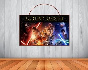 Personalized STAR WARS Force Awakens Sign, Star Wars Personalized Wooden Name Sign, Star Wars Room Decor, Star Wars Birthday Sign