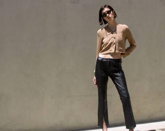 Vintage 90s GUESS 100% Leather Slim/Bootcut Medium Waist Pants sz 5