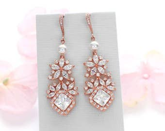 Wedding earrings, Rose Gold, chandelier earrings, wedding accessories, cubic zirconia, crystal earrings, bridal jewelry earrings for wedding