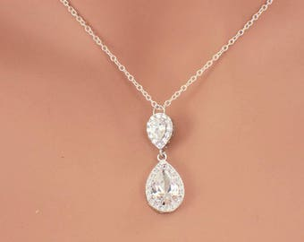 Simple bridal necklace, teardrop necklace, bridesmaid necklace, wedding necklace, swarovski crystal necklace, bridal jewelry wedding jewelry