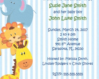 Jungle Animals Baby Shower Invite