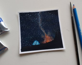 Original night sky painting in watercolour and gouache