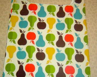 """Reusable Grocery Shopping Bag  """"Apples and Pears"""" Design"""