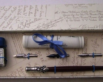 Calligraphy set-LILIE-with 3 x ink, wood pen with Tin handle and storage