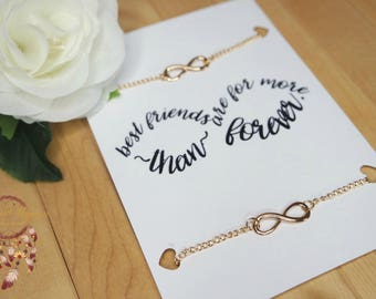 Friendship bracelets   infinity bracelets, gold bracelets, best friends bracelets set, minimalist jewelry, jewelry card, necklace card, gift