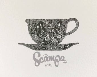Original hand drawn, ink print illustration of a beautifully detailed teacup. Framed