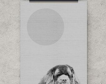 Digital Download, Dog Wall art, Puppy Print,  Nursery Wall Art, Pet Print, Printable Art, Black and White, digital art, instant download