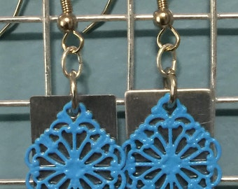Square Blue shingle Earrings