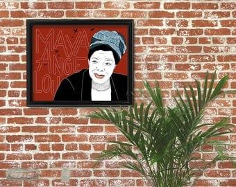 Maya Angelou Portrait Print, Feminism, Feminist Art, Giclee Print