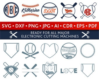 Baseball Svg Baseball Monogram Frames Svg Baseball Frames Svg Cut Files Silhouette Studio Cricut Svg Dxf Jpg Png Eps Pdf Ai Cdr
