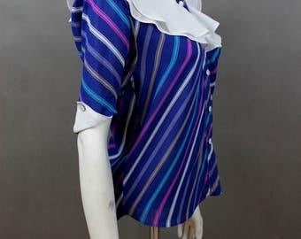 Lollipop Ruffle Blouse - Rockabilly Clothing - Vintage Shirt - Plus Size Housewife Blouse - Retro Clothing - Secretary Shirt - Ladies Shirt