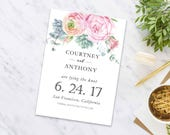 Save the date postcard, Wedding Announcement, Printable Save the Date, Digital File, Save The Date Postcard - Flower Engagement Card