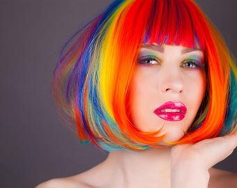 Pride LGBT Gay//Lesbian//Bi//Transgender Rainbow Wig