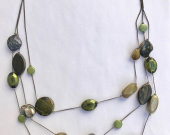 Green Tiered Stone Necklace