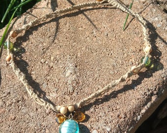 Braided Blue Stone Necklace
