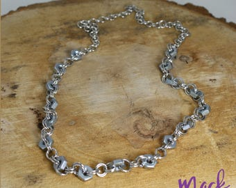 "Hex Nut Necklace 20"" Upcycled Nickel Free"