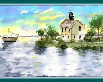 Picture 6.89*10.8 in.Water color,, wall art ,home decor