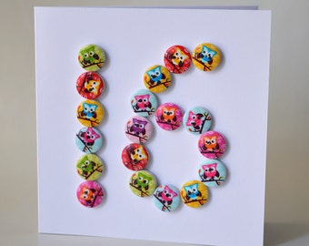Sweet 16 wooden button greeting card with envelope 5x5