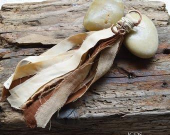 Mala Tassel, Hand Dyed Fibers, Copper Ohm, Handmade Tassel, Camel/Brown, Jewelry Crafts, DIY