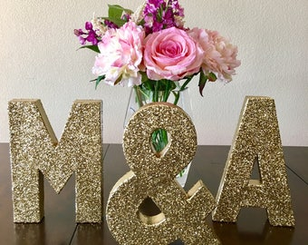 gold stand up initials | double-sided glitter letter | wedding decor | sweetheart table decor | home decor | ships in 3-5 business days