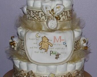 Classic Winnie the Pooh Diaper Cake, Winnie the Pooh Diaper Cake, Disney Pooh Bear Baby Shower Gifts, Classic Pooh Baby Shower Diaper Cakes