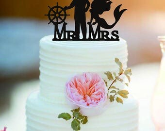 Customized Mermaid and captain Wedding Cake Topper /Personlized Bride And Groom Cake Topper/Mermaid party