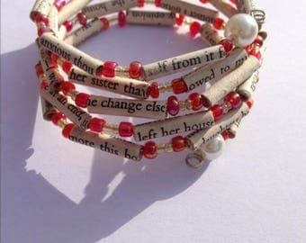 Red and Yellow Sense and Sensibility Book Bead Bracelet