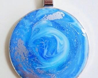 Ocean inspired resin pendant